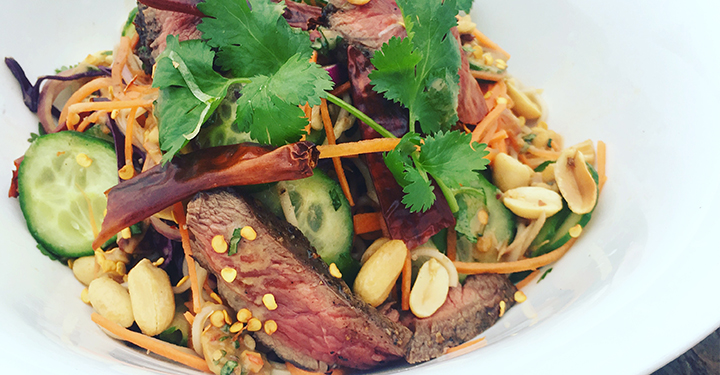 Asian Noodle Salad with Grilled Five Spiced Venison Flat