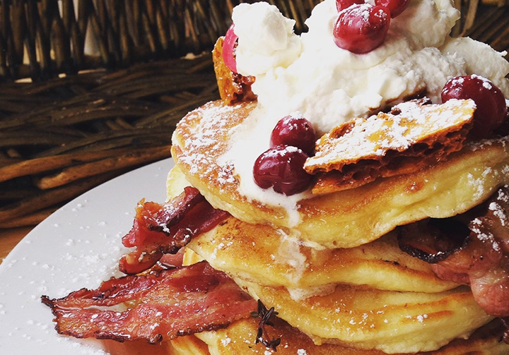 Buttermilk Pancakes with Wild Boar Bacon