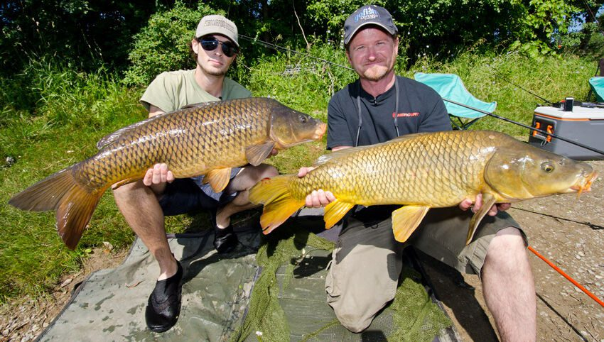 Pete and Will with a double-header of Otonabee River Carp.