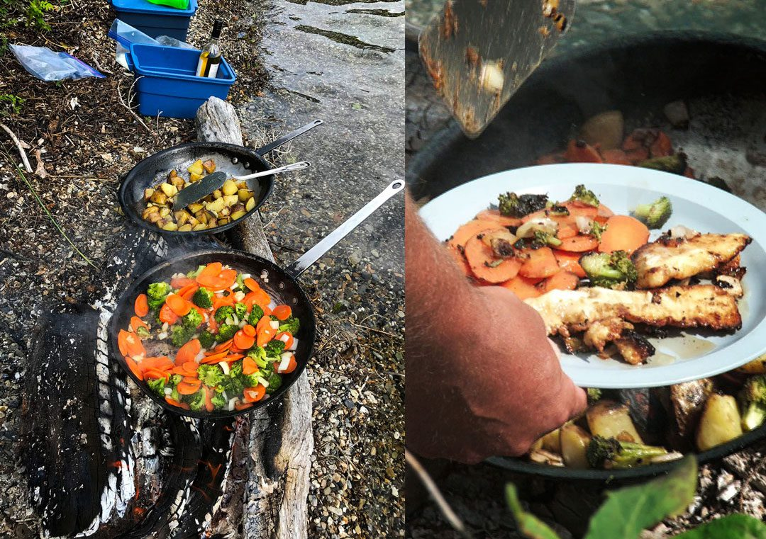 A shore lunch of Northern Pike, potatoes, and vegetables