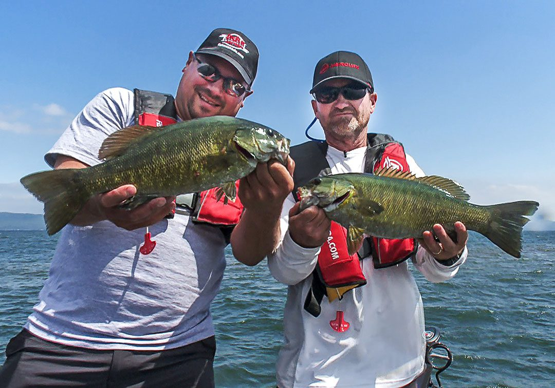 Steve and Pete with a pair of Lake Superior Smallmouth Bass