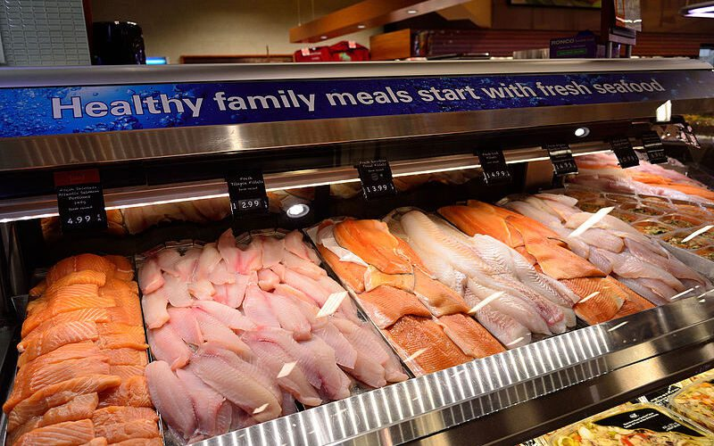 Seafood on display in grocery store